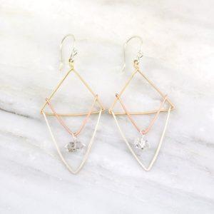 Triple Layered Triangle Herkimer Diamond Earrings Sarah Deangelo
