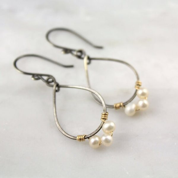 Pearl Wrapped Teardrop Mixed Metal Hoop Earrings Sarah Deangelo