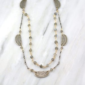 Asmi Double Strand Mixed Metal with Labradorite Necklace Sarah Deangelo