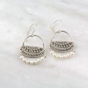 Asmi Nefertiti Silver and Pearl Earrings Sarah Deangelo