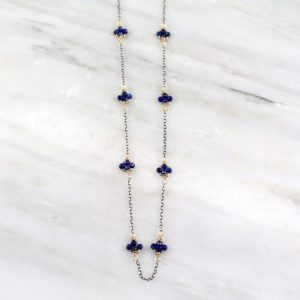 Lapis Satellite Mixed Metal Necklace Sarah Deangelo