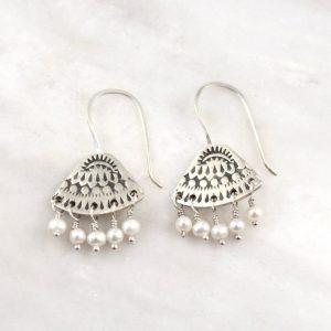 Asmi Triangle Dangle Pearl Earrings Sarah Deangelo