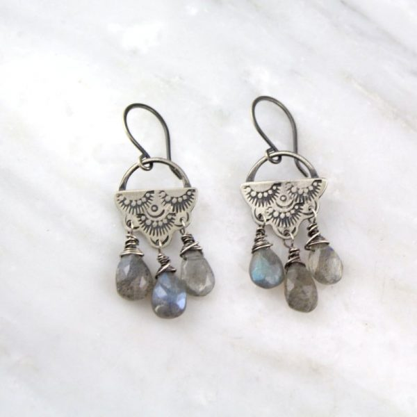 Wanderer Raindrop Chandelier Labradorite Earrings Sarah Deangelo