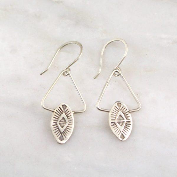 Southwest Triangle Silver Earrings Sarah Deangelo