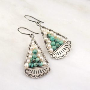 Navajo Lace Turquoise and Pearl Mosaic Earrings by Sarah DeAngelo