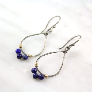 Lapis Wrapped Teardrop Mixed Metal Hoop Earrings Sarah Deangelo