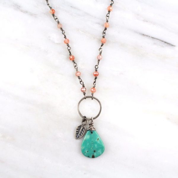 Leaf Charm Turquoise and Sunstone Necklace Sarah Deangelo