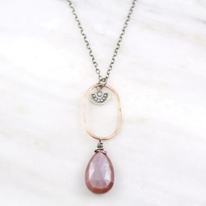 Wanderer Long Peach Moonstone Necklace Sarah Deangelo