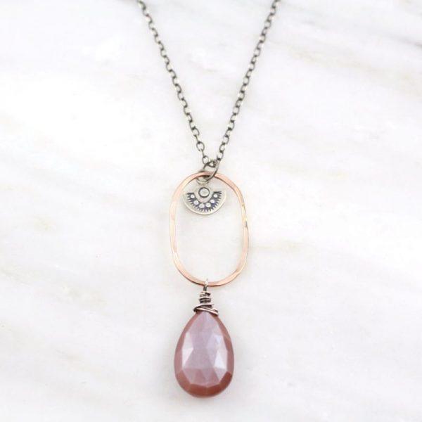 Wanderer Long Peach Moonstone Necklace Sarah Deangelo