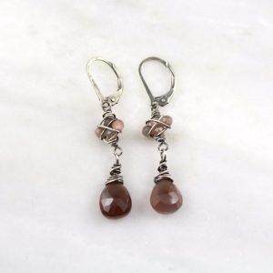 Peach Moonstone Wrapped Oxidized Silver Earrings Sarah Deangelo