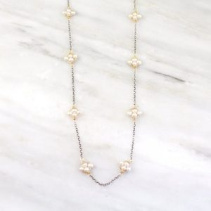 Pearl Satellite Mixed Metal Necklace Sarah Deangelo