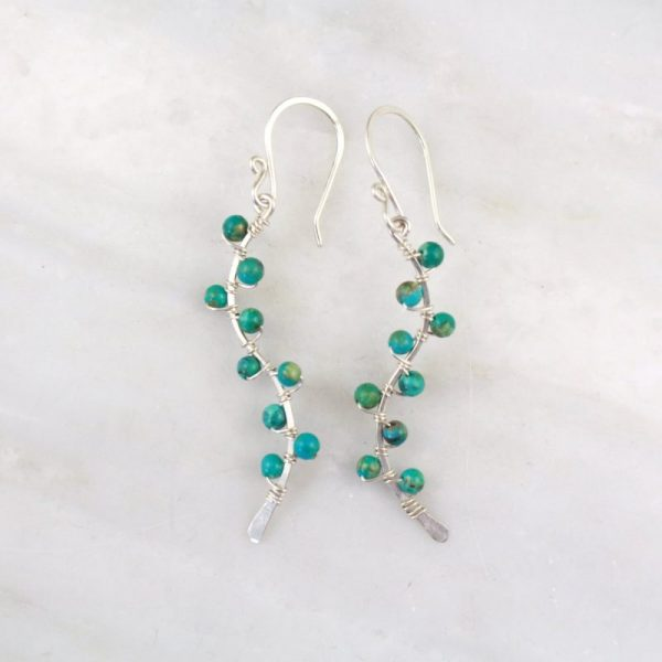Turquoise Wrapped Vine Silver Earrings Sarah Deangelo