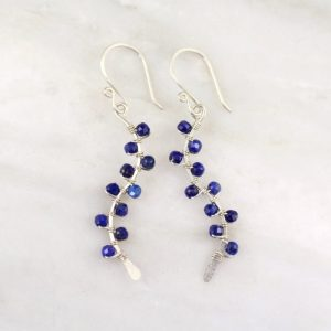 Lapis Wrapped Vine Silver Earrings Sarah Deangelo