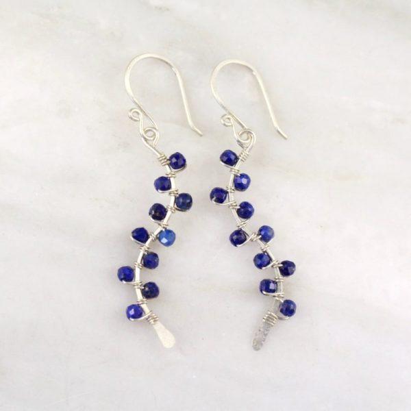 Lapis Wrapped Vine Silver Earrings Sarah Deangelo