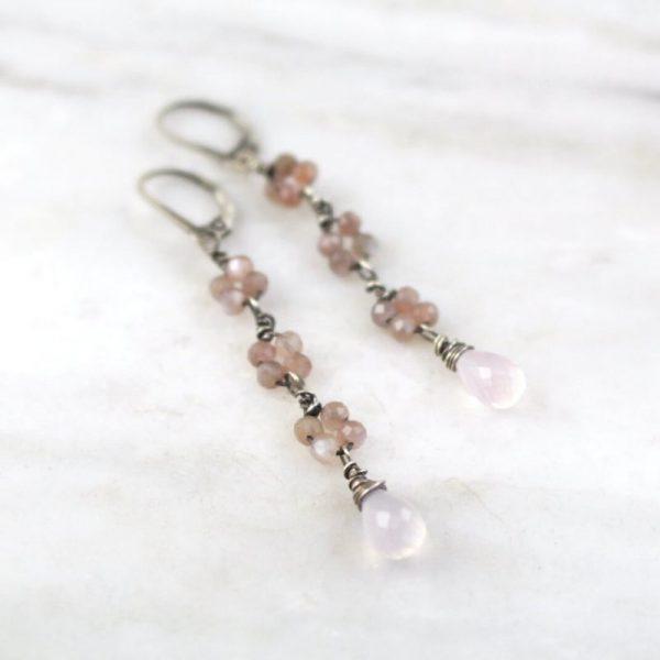 Long Peach Moonstone and Rose Quartz Earrings Sarah Deangelo
