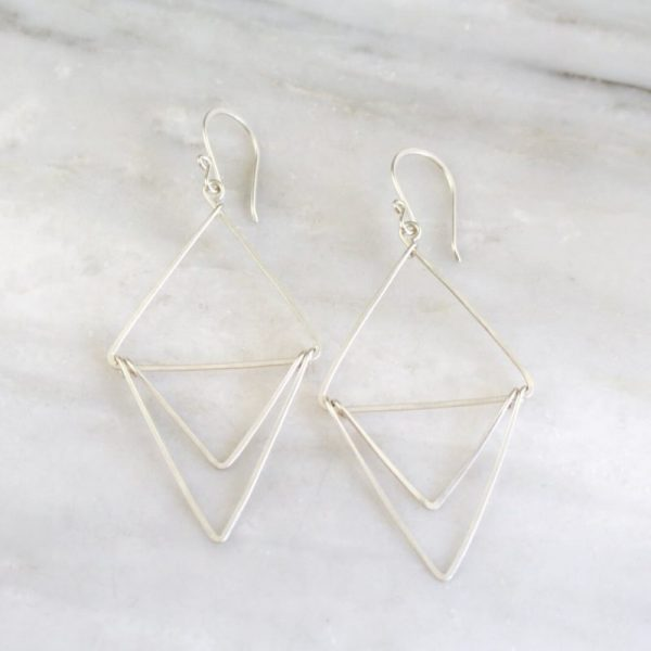 Silver Triple Triangle Hoop Earrings Sarah Deangelo