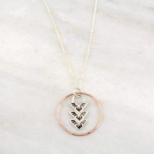 Thunderbird Trio Rose Gold Circle Necklace by sarah deangelo
