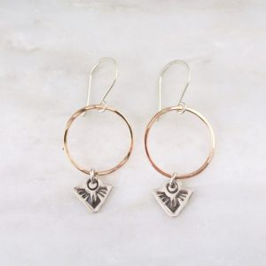 Thunderbird Mini on Rose Gold Circle Earrings Sarah Deangelo