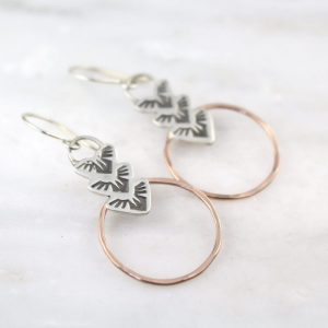 Thunderbird Trio Rose Gold Circle Earrings Sarah Deangelo