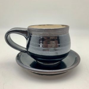 Cream and Black Espresso Cup by Margo Brown