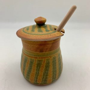 Striped Stoneware Honey Pot by Margo Brown