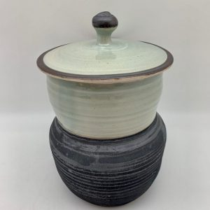 Celadon and Black Pot by Margo Brown