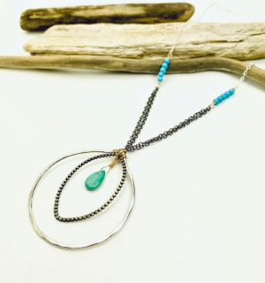 Sterling Silver Necklace with Turquoise Pendant Laura J Designs
