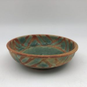 Small Green and Brown Porcelain Dish by Margo Brown