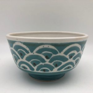 Turquoise Scallop Porcelain Bowl by Margo Brown