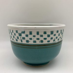 Turquoise Checked Porcelain Bowl by Margo Brown