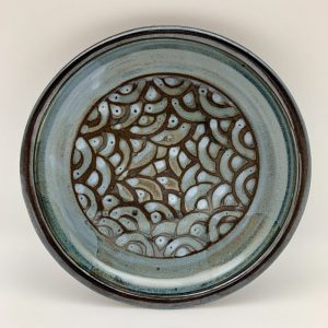 Black and Blue Shallow Patterned Porcelain Bowl by Margo Brown