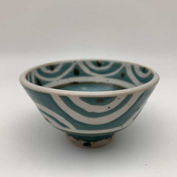 Small Turquoise and White Bowl by Margo Brown