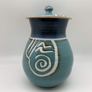 Turquoise Porcelain Cookie Jar by Margo Brown