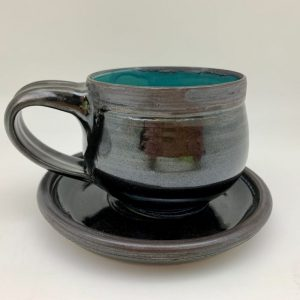 Porcelain Espresso Cup and Saucer by Margo Brown