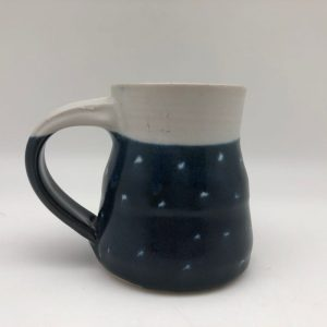 Blue Dotted Porcelain Mug by Margo Brown