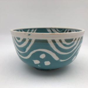 Patterned Turquoise Bowl by Margo Brown