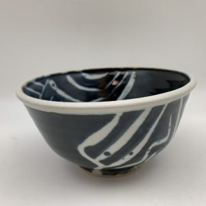 Patterned Navy Bowl by Margo Brown