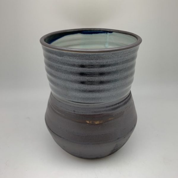 Black Utensil Holder with Celadon Interior by Margo Brown