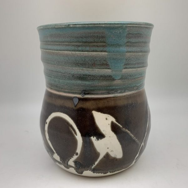 Turquoise and Brown Porcelain Utensil Holder by Margo Brown