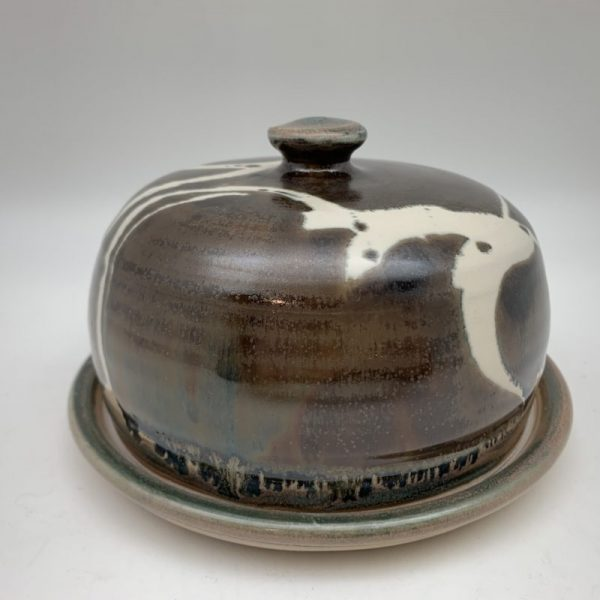 Brown and White Porcelain Butter Dish by Margo Brown