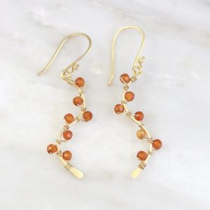 Madeira Citrine Wrapped Gold Vine Earrings by Sarah Deangelo