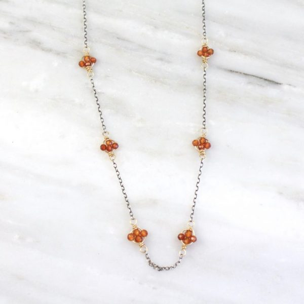 Madeira Citrine Satellite Mixed Metal Necklace by Sarah Deangelo
