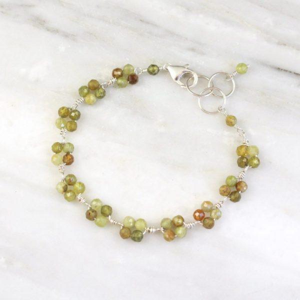 Green Garnet Cluster Bracelet by Sarah Deangelo