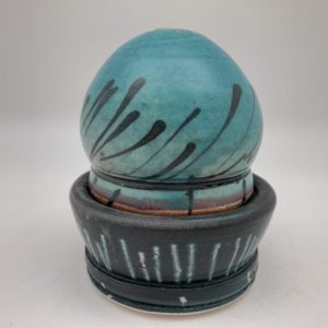 Turquoise/Black Salt and Pepper Set by Delores Fortuna