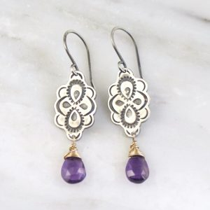 Peacock Mandala Wrapped Amethyst Mixed Metal Earrings by Sarah Deangelo