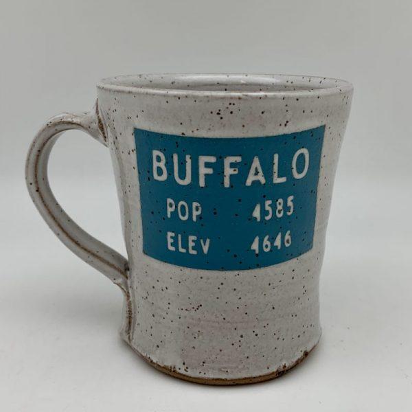Buffalo Wyoming Population Sign Mug by Stephen Mullins