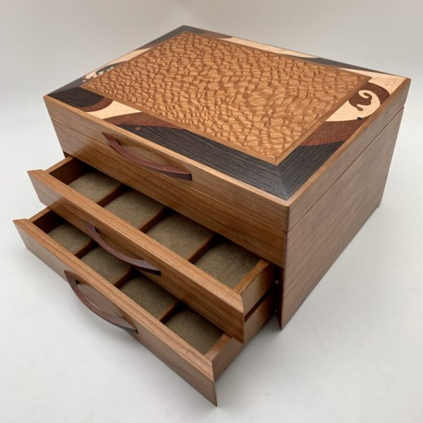 Wave Marquetry 2-Drawer Jewelry Box by Heartwood Creations