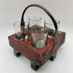 Rustic Tray with 4-Glass Set by Blue Ocean Traders