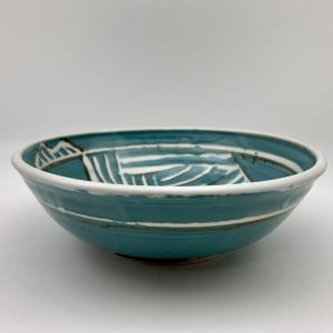 Turquoise and White Porcelain Bowl by Margo Brown