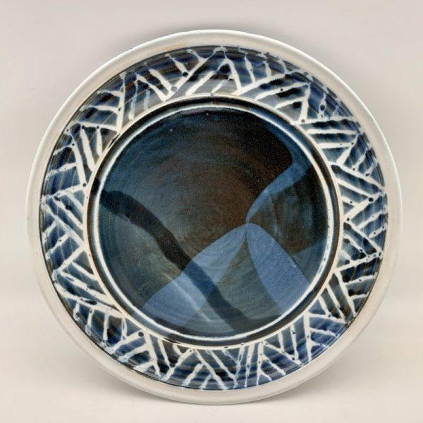 Large Navy Porcelain Platter by Margo Brown